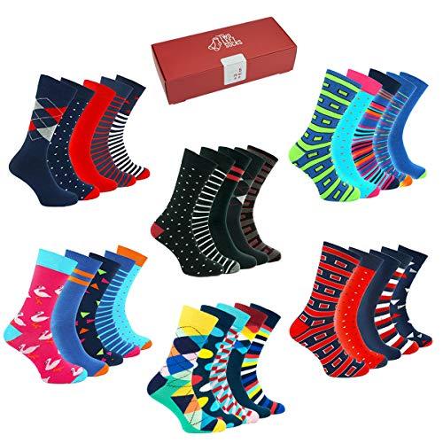 TWO LEFT SOCKS Premium Fashion Sets de 5 p. de calcetines! Calidad de algodón, muchos diseños y tamaños muchos unisex (SET 1 IMPOSTA I COLORI LUMINOSI E DIVERTENTI, EU 35-38 / UK 3-5)