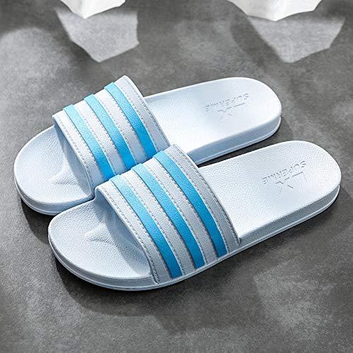 quming Zapatillas De Piscina Antideslizantes Unisex,Sandalias de Rayas de Moda, Zapatillas Antideslizantes de Fondo Suave-Azul Claro_44-45