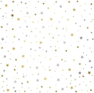 Mozamy Creative Star Wall Decals (378 Count) Gold and Silver Star Decals Removable Peel and Stick Wall Decals