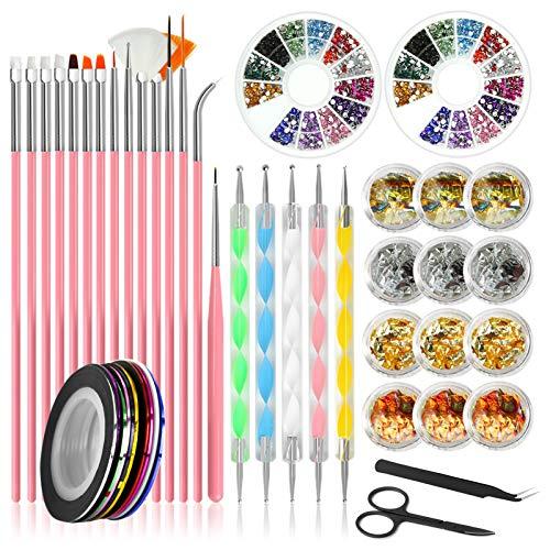 Kit per nail art Canvalite, stilista per unghie con pennelli per unghie 15pcs, strumento per punteggiare le unghie, lamina per unghie, nastri per unghie, strass per unghie colorati