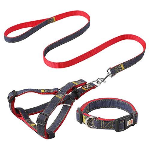 Jecikelon Hundegeschirr, Leine und Halsband, robust, tragbar, Denim, Nähen, Training, Hundeleine, verstellbarer Gurt für Hundegeschirr und Halsband, rot, XS:Neck 7.8-11.8