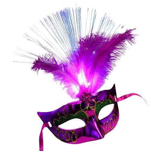 Masque femme, Koly Masque Loup Venitien en en fibre Plume de LED Deguisement pour la Soiree Masque de Bal Mascarade Halloween Partie Vampire (Rose vif)