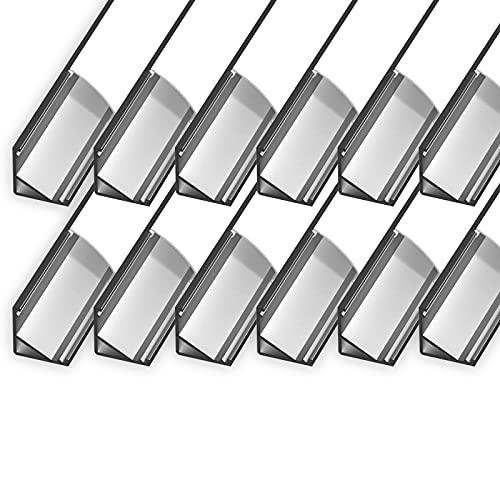 CABI (CA) - Perfil de esquina de aluminio para LED de hasta 10 mm de ancho, perfil de esquina + cubierta acrílica de color blanco lechoso (ópalo) + 12 x 1 m)