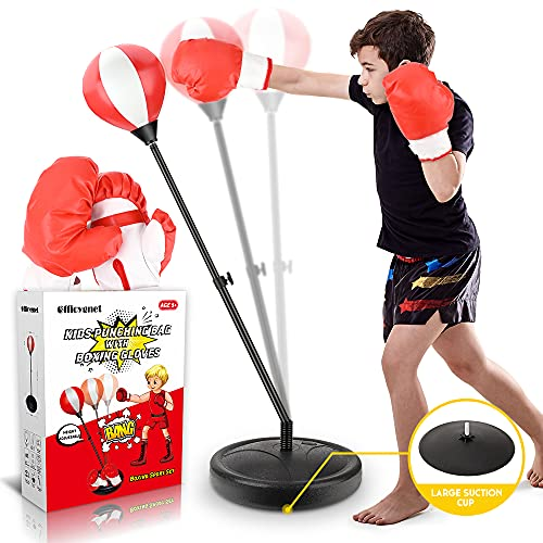 Punching Bag for Kids, Boxing Bag Set for Age 4, 5, 6, 7, 8, 9, 10 Years Old Boys, Height Adjustable Kids Punching Bag with Stand Incl Boxing Gloves Set, Ideal Christmas & Birthday Gift