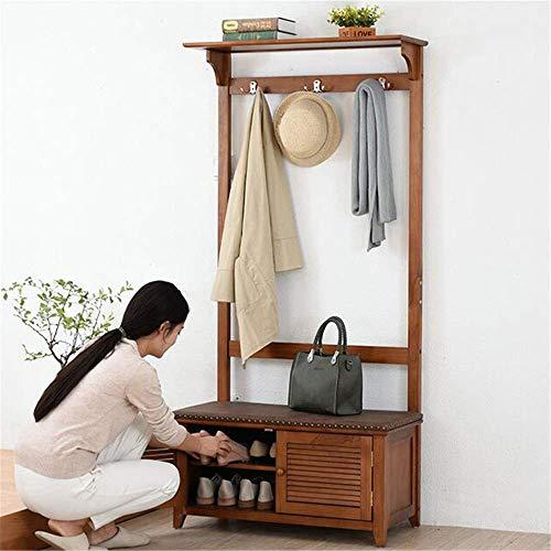 JF-XUAN Estante de la ropa sombrero de época y un perchero Pasillo zapatero y un banco con asiento y del cajón (Color: Marrón, Tamaño: 170x82x37cm)