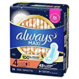 Always Maxi Pads Size 4 Overnight Absorbency Unscented with Wings, 33 Count