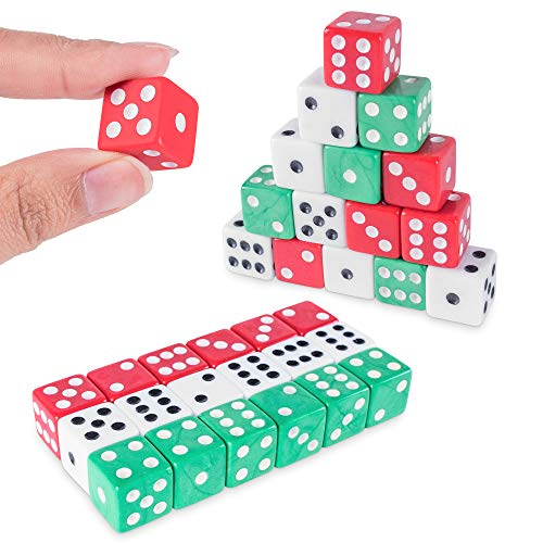 Assorted Colorful Dice in White, Red, Green for Board Games, Activity, Casino Theme, Party Favors, Toy Gifts (18 Pack)