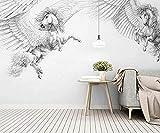 ZZXIAO Nordische handgemalte schwarz weiß Pegasus moderne Fototapete 3D Wohnzimmer Einrichtung Seidenstoff wandpapier fototapete 3d effekt tapete Wohnzimmer Schlafzimmer Hintergrundbild-430cm×300cm