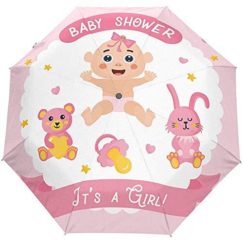 Baby Shower Girl Auto Open Umbrella Sun Rain Umbrella Anti UV pieghevole pieghevole automatico ombrello