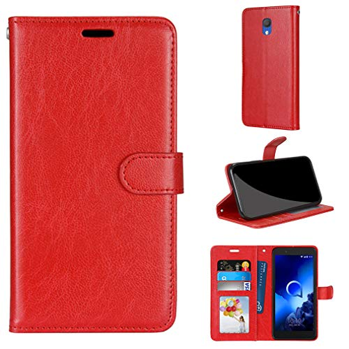 LMFULM® Hülle für Alcatel 1C 5003D 2019 (5,0 Zoll) PU Leder Magnet Brieftasche Lederhülle Handyhülle Stent-Funktion Ledertasche Flip Cover Einfaches Rot