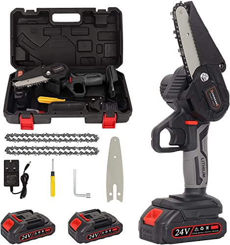 Mini Chainsaw, 4 Inch 21v Electric Chainsaw, Portable Handheld Cordless...