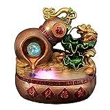 YCSX Fuente Interior Resina Lotus Pond Fountain Agua Lucky Feng Shui Good Fortune Gourd Gold Toad Waterscape Interior Humidificador Empresa Apertura de Regalos Mueble Acuario