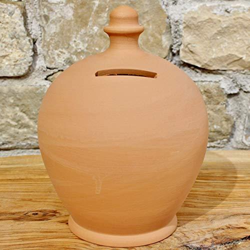 Salvadanaio in Terracotta, scelta tra Varie Misure, 100% Made in Italy (vicino Assisi) da rompere (senza foro inferiore) lavorato a mano al tornio