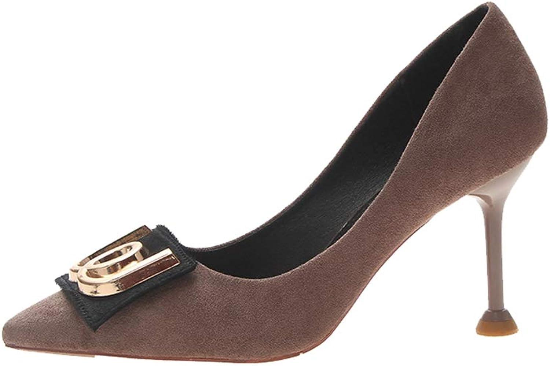 Sam Carle Women's Pumps,Anti-Slip Pointed-Toe Kitten Heel Black Khaki Daily Work shoes