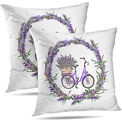 N/A Juego de 2 Bicicletas con Flores de Lavanda Borde Redondo Floral Acuarela Color Decorativo Cojines Funda de cojín para el sofá del sofá Sala de Estar 18 x 18 Pulgadas
