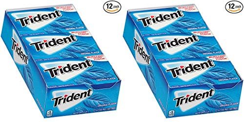 Trident Original Flavor Sugar Free Gum - with Xylitol - 12 Packs (168 Pieces Total) 2 Pack