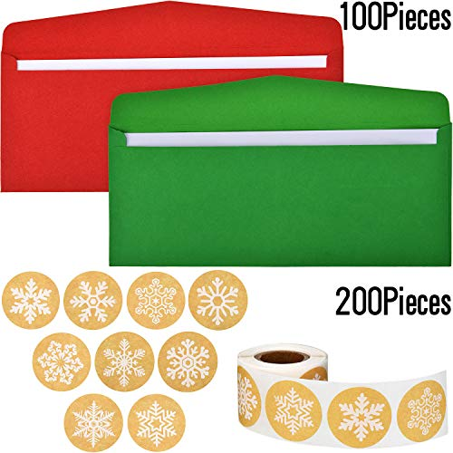 Outus 100 Pezzi Buste di Colori Natale Numero 10 Buste per Carte Regalo con 200 Pezzi Adesivi di Fiocchi Neve Natale Kraft per Forniture Natalizie per Lettere Natalizie, Rosso e Verde