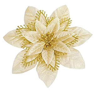 GL-Turelifes 9 Pack Glitter Artificial Poinsettia Flowers Silk Poinsettias Flower Heads Christmas Wreath Christmas Tree Flowers Ornaments 4.72''(12cm)