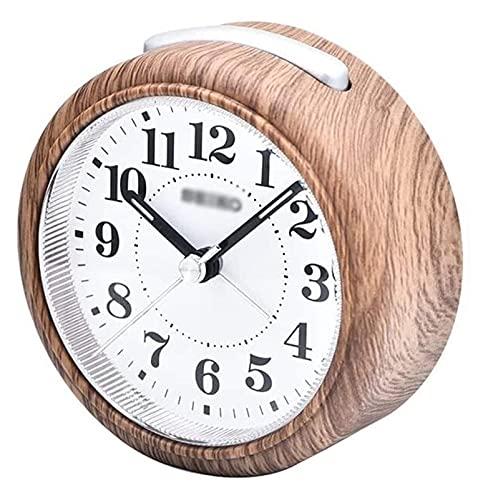 HGJINFANF Diseño de primera clase, esencial para el hogar reloj despertador para dormitorio silencioso sin garrapatas, reloj despertador con función de repetición y luz (color: negro)