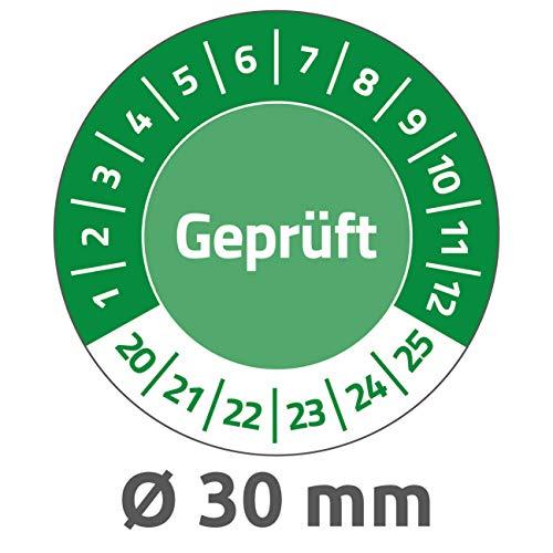 AVERY Zweckform 6952-2020 widerstandsfähige Prüfplaketten 2020-2025 (stark selbstklebend, Kleinformat, Ø 30 mm, 80 Aufkleber auf 10 Blatt) grün