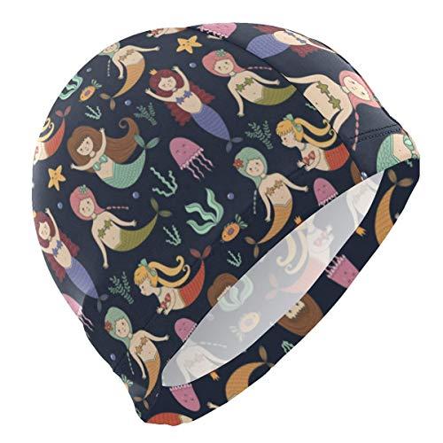 Gebrb Cuffie da Nuoto,Cuffie da Bagno,Cuffia Piscina Happy Mermaid Swimming Art Lycra Swim cap Swimming for Women Men