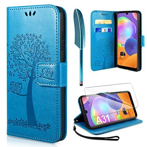 AROYI Handyhülle für Samsung Galaxy A31 Hülle + Schutzfolie,Galaxy A31 Klapphülle Hülle PU Leder Flip Wallet Schutzhülle für Samsung Galaxy A31 Tasche, Blau