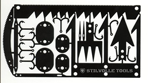 Stilvolle Tools Survival Card Tool Hook Size That Contains The 12 Features to Help Survival Card 12 Survival time to Card Size, Hook Small, Arrowhead A, Arrowhead B, (Black)