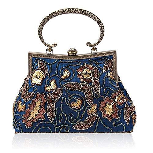 Jolly Frauen Antike Wulstige Partei Clutch Vintage Rose Geldbeutel-Abend-Handtasche (Color : B)