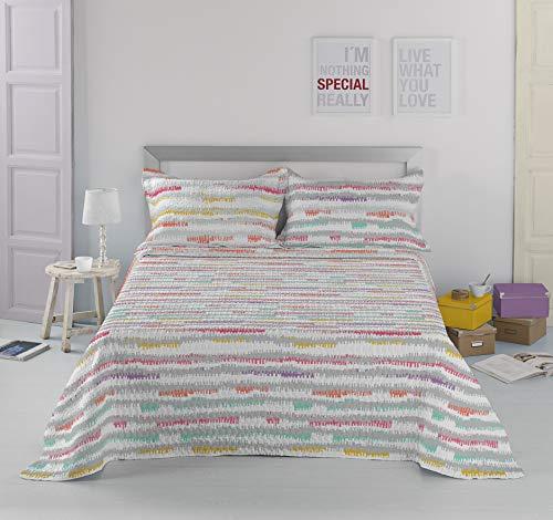 Sibiles - Colcha Bouti Verano de Colores para Cama con Cojines Rayas Colores Ziggy (235x270 cm - Cama 135)