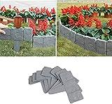 DHBX Gray Garden Plastic Fence Edging, DIY Decorative Flower Grass Bed Border, Lawn Plant Decorative, for Garden Patio Landscape Walkways.