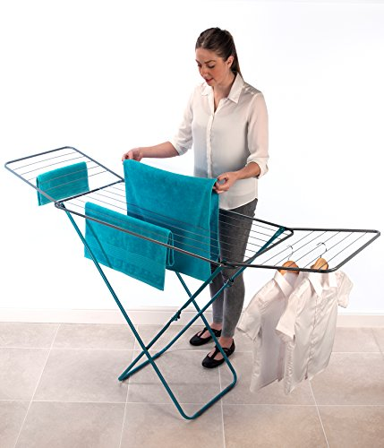 Beldray LA023810TQ Flat Top Turquoise Clothes Airer Rack, 18 Metre Space, Foldable, Hangers & Towels, 182 x 50 x 100 cm…