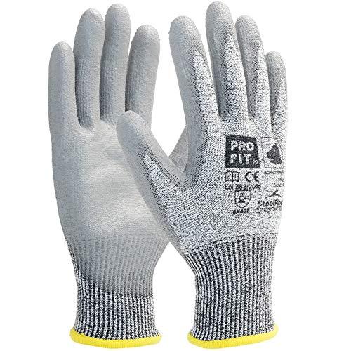 PRO FIT PU-Schnittschutzhandschuh, 10 Paar, Level E, mit HPPE-Steel-Fiber, grau, Gr. 8