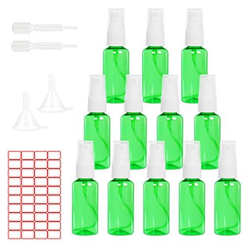 LAMEK 12x60ml Botes Spray Vacío Transparente Botella de Aerosol Viaje Plástico Vacía de Atomizador Fine Mist Pulverizador con 2 Embudos 2 Pipetas 1 Etiquetas para Vacaciones Maquillaje Limpieza, Verde