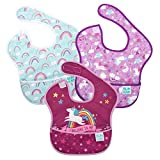 Bumkins - Pack de 3 baberos para niñas, diseño Believe, Unicorns, Rainbows