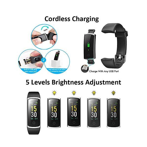 Lintelek Pulsera Actividad, Reloj Inteligente con Medidor de Ritmo Cardíaco Presión Arterial, Reloj Deportivo Compatible… 8
