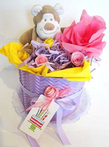 Torta di Pannolini DODOT con Peluche | Modello CICLAMINO | Personalizzabile con il Nome del Bebé | Diaper Cake | Baby Shower Gift Idea | Tono Rosa/Viola, Per Femminucce