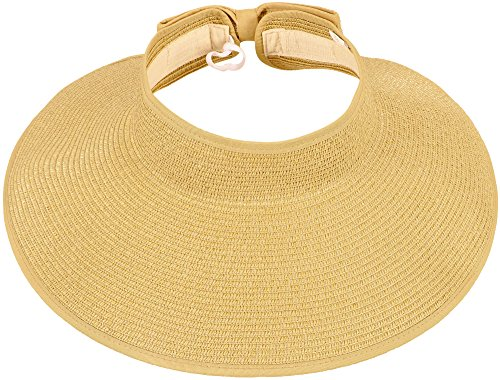 Simplicity Women's Wide Brim Roll-up Straw Hat Sun Visor Beige