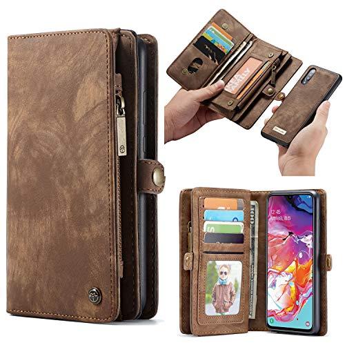 Simicoo Samsung A70 Leder Wallet Schutzhülle 11 Kartenfächer Reißverschluss Abnehmbare Brieftasche Magnetverschluss Robuste Filp Tasche Handyhülle für Samsung A70 (A70, Brown)