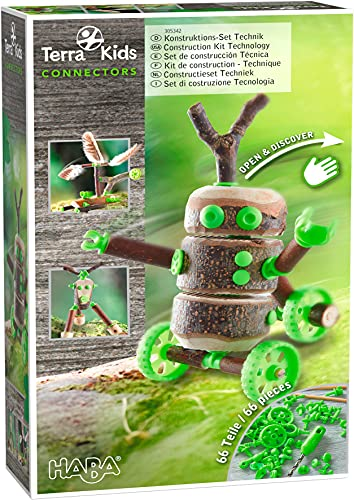 HABA Terra Kids Connectors Backyard Craft Kit Technology - 66 Piece Set with Plastic Connectors, Cork & Hand Drill - Add Wood from Nature - Ages 8+
