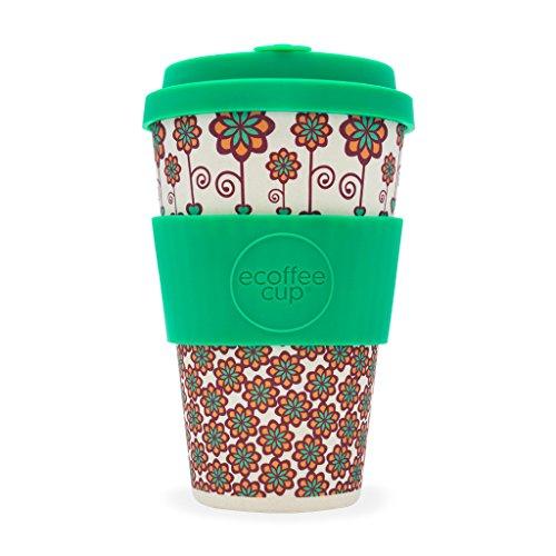 Ecoffee Cup Stockholm mit Türkis Kaffeebecher, 400 ml, aus Bambusfaser, mit Seegras-Design, tropfsicherer Deckel und spülmaschinenfest