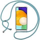 Ingen Funda Compatible con Cuerda Compatible con Samsung Galaxy A52, Ultrafina Suave TPU Carcasa Transparente de movil con Correa Colgante Ajustable Case,Azul Claro