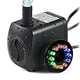 TOPBRY 220 GPH Submersible Water Pump(800L/H, 15W),Ultra Quiet 12 LED Colorful Pump Lights...