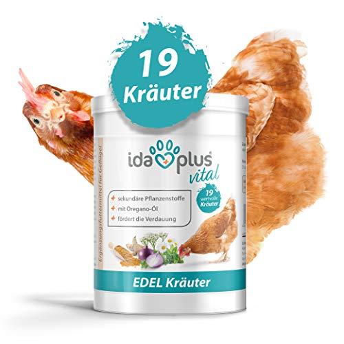 Ida Plus – Hühner Edel-Kräuter (500 g) – Mischung aus 19 wertvollen Kräutern – für Verdauung – ausgewogenes Futter 100{51577a6fc2d161b2722c8a1bcb8de42867598c40baff7a8eb4bf3c8bdcccc59d} natürlich