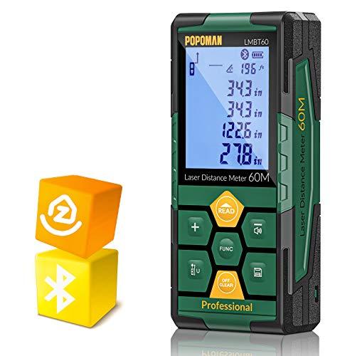 Medidor Láser 60m, POPOMAN Telémetro Láser (Bluetooth4.0 + App), Niveles de Burbuja con Carga Rápida USB, 99 datos,...