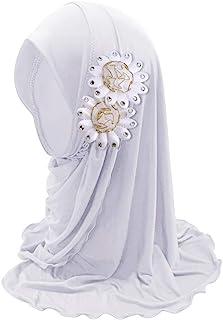 Girls Ice Silk Muslim Khimar Hijab Headscarf Flower Arab Scarf Shawls Neck Wrap Islamic Head Wrap for Age 5-12 Years Girls