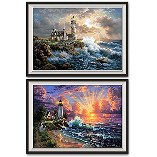 ONEST 2 Pack 5D DIY Diamond Painting Full Drill Paint for Home Wall Decor by Number Kits, Lighthouse (12X16inch/30X40CM)