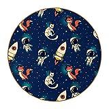 Posavasos para Bebidas Universo Fox Cat Spacemen Redondo Portavasos Juego de 6 Cuero Decorativo Coaster Creativa Posavasos Set de Regalo 11x11 cm
