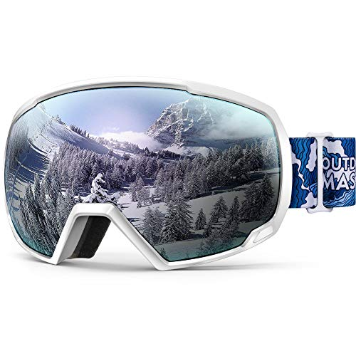 OutdoorMaster OTG Ski Goggles - Over Glasses Gafas de esquí/Snowboard para Hombres, Mujeres y jóvenes - 100% de protección UV (White Wave Frame + VLT 12% Sliver Lens)