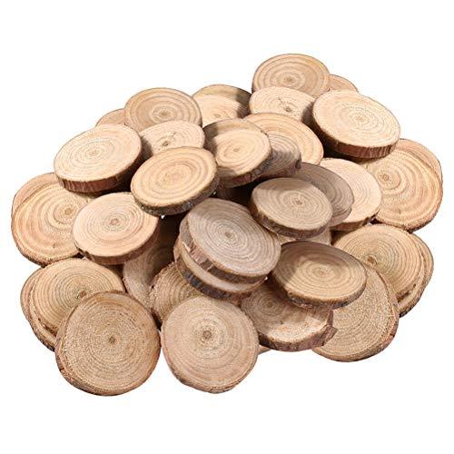 DOITOOL 100 piezas rodajas de madera circulos de madera manualidades discos de madera natural troncos madera decoracion árbol rebanadas de discos para manualidades de bricolaje (1.5-3 cm)