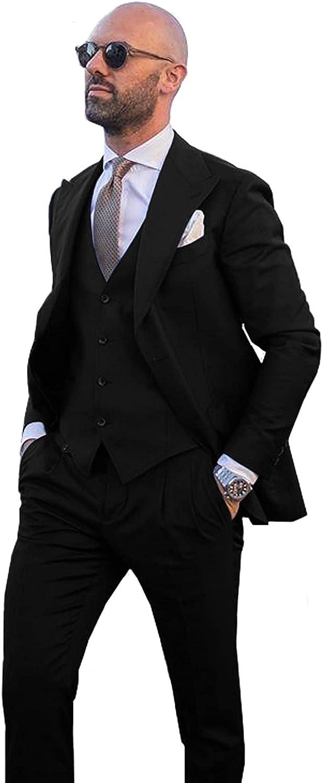 Mens 3-Piece Suit Peaked Lapel Tuxedos Jacket Vest Pants for Wedding Grooms